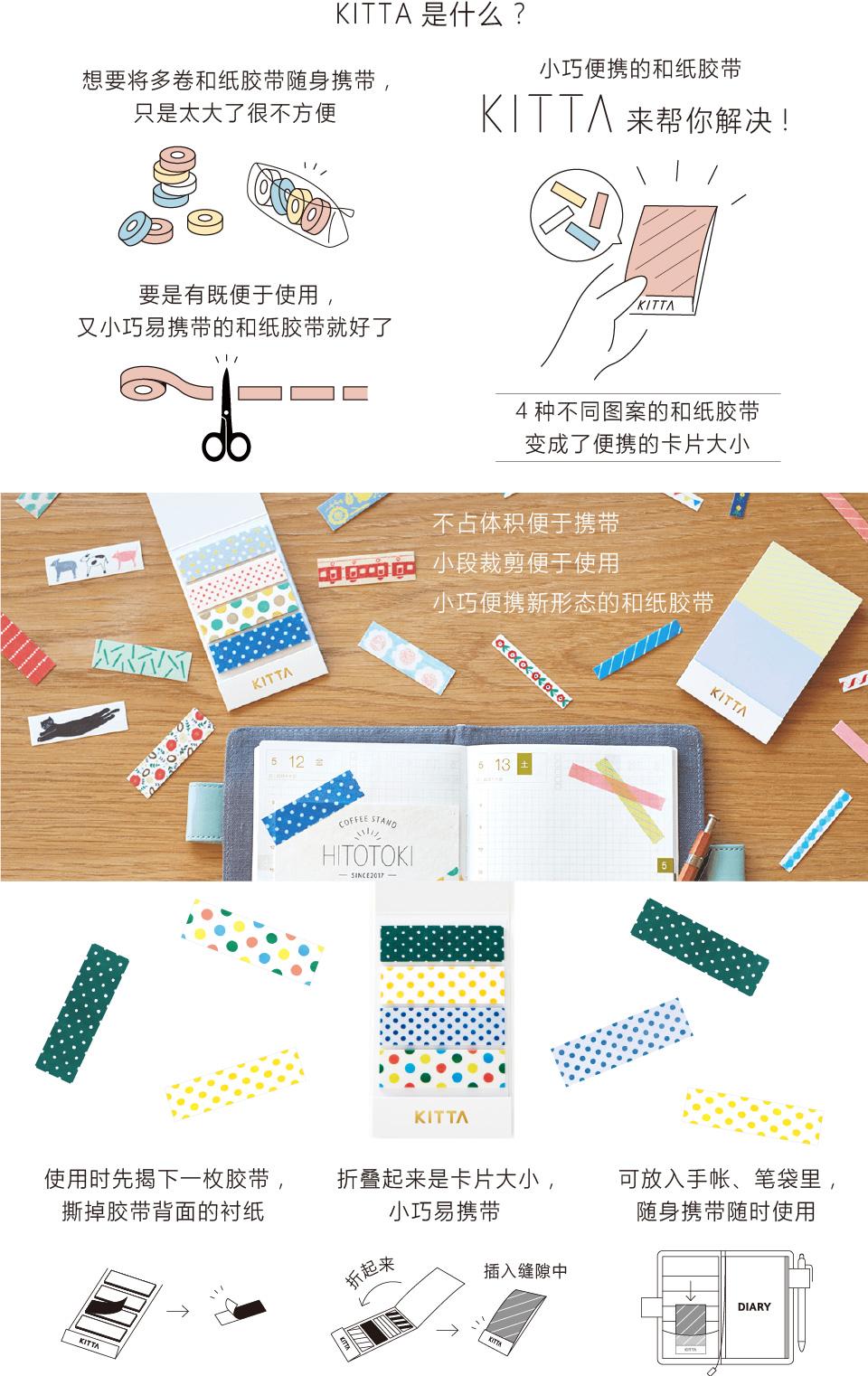 想要每天将和纸胶带随身携带,只是太大了很不方便。要是有既便于使用,又小巧易携带的和纸胶带就好了。 KITTA来帮你解决!将4种不同图案的和纸胶带收纳为卡片大小。